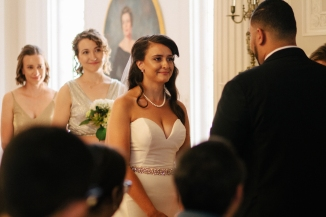 bride holds back tears while listening to the groom's vows-1
