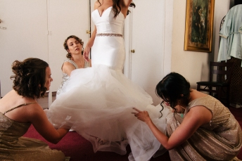 bridesmaids primp the bride-1