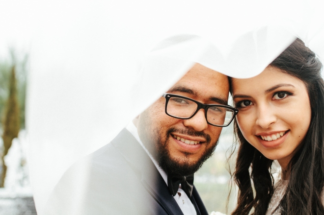 bride and groom pose under the veil