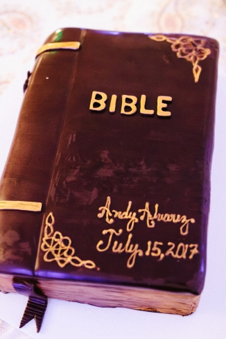 groom cake shaped like a bible